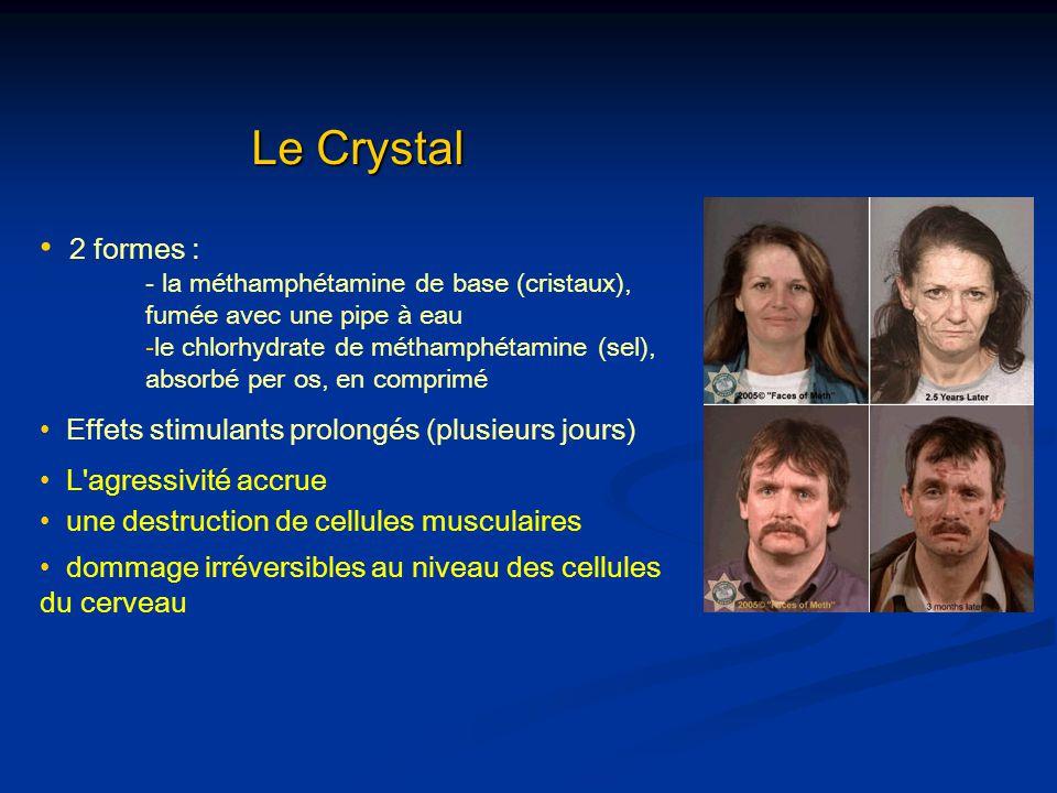 Le Crystal 2 formes : Effets stimulants prolongés (plusieurs jours)