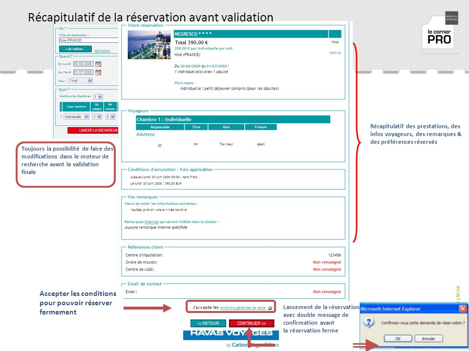 Récapitulatif de la réservation avant validation
