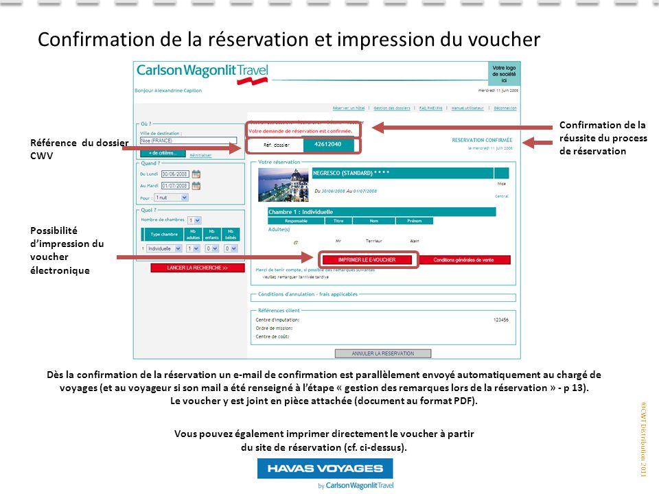 Confirmation de la réservation et impression du voucher