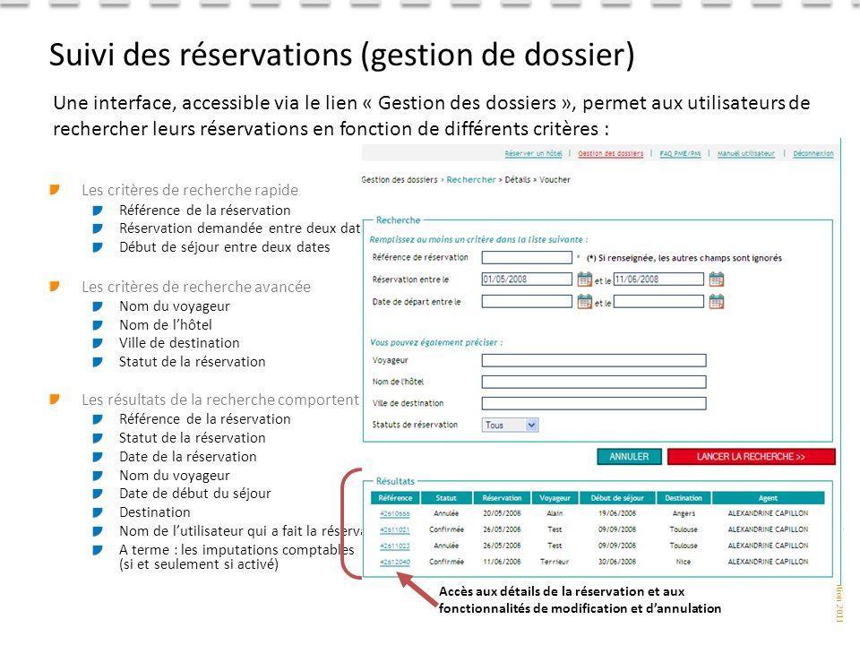 Suivi des réservations (gestion de dossier)