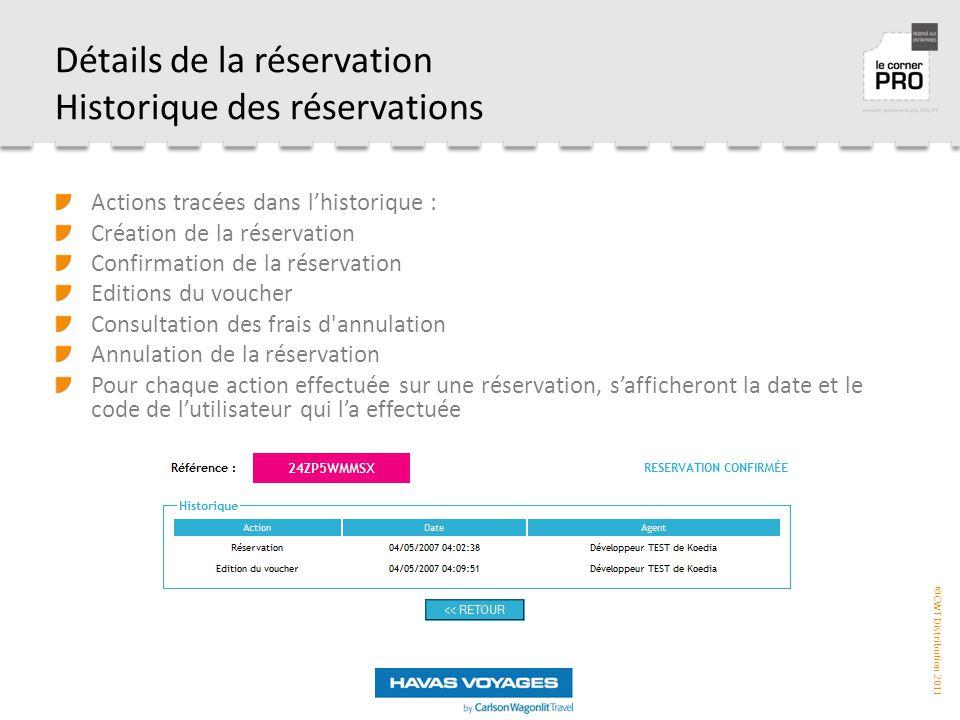 Détails de la réservation Historique des réservations