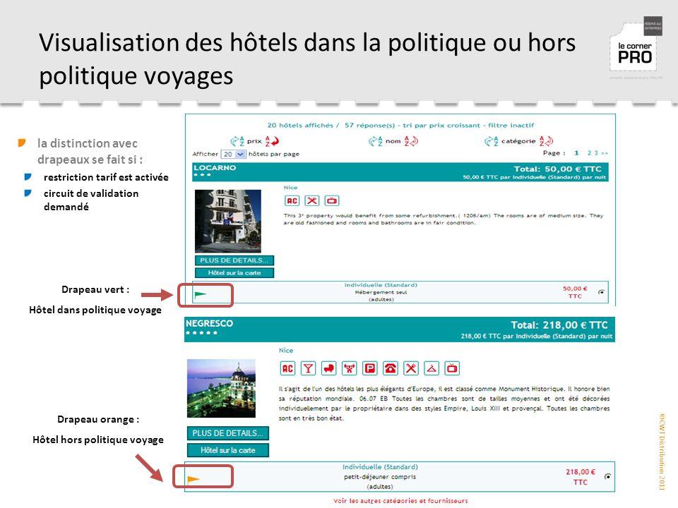Visualisation des hôtels dans la politique ou hors politique voyages