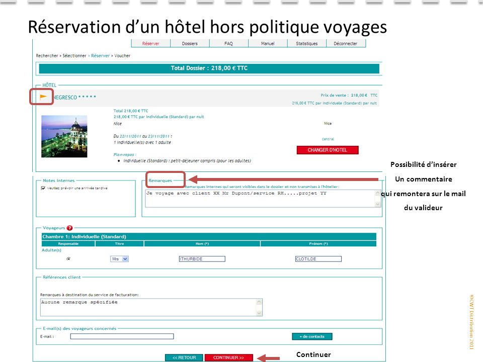 Réservation d'un hôtel hors politique voyages