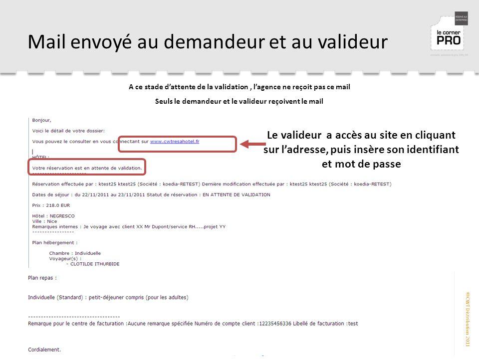 Mail envoyé au demandeur et au valideur
