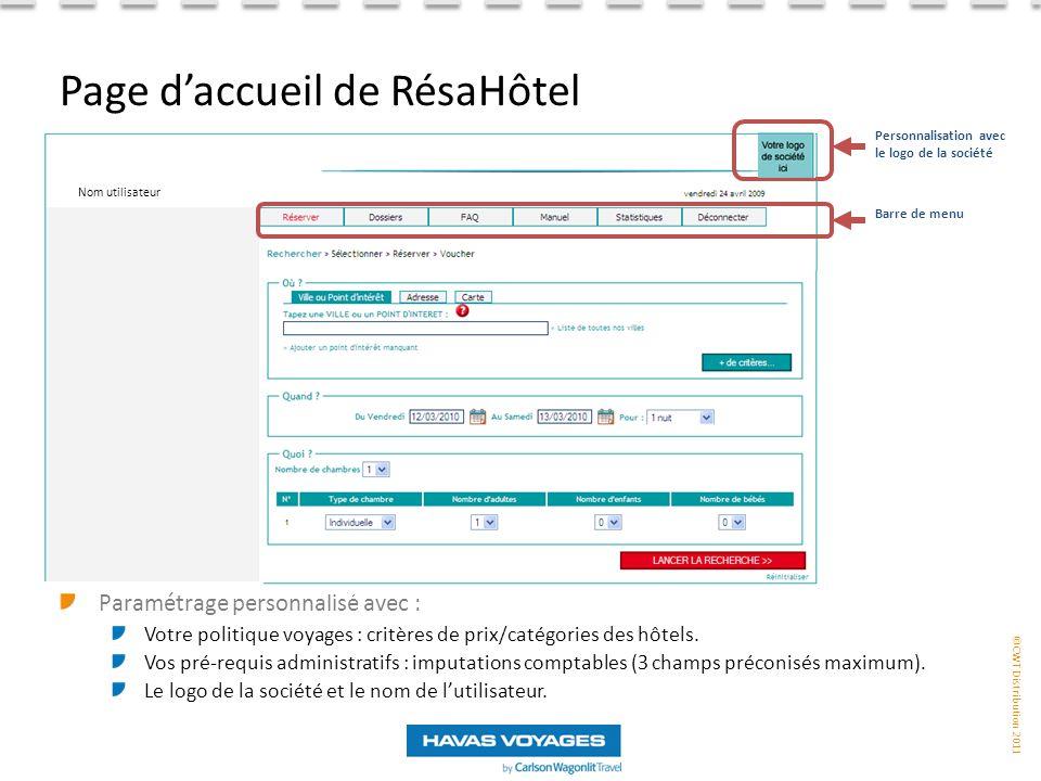 Page d'accueil de RésaHôtel