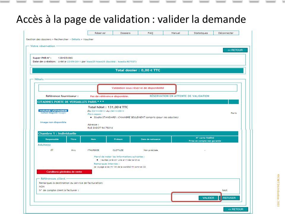 Accès à la page de validation : valider la demande