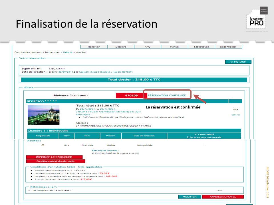 Finalisation de la réservation