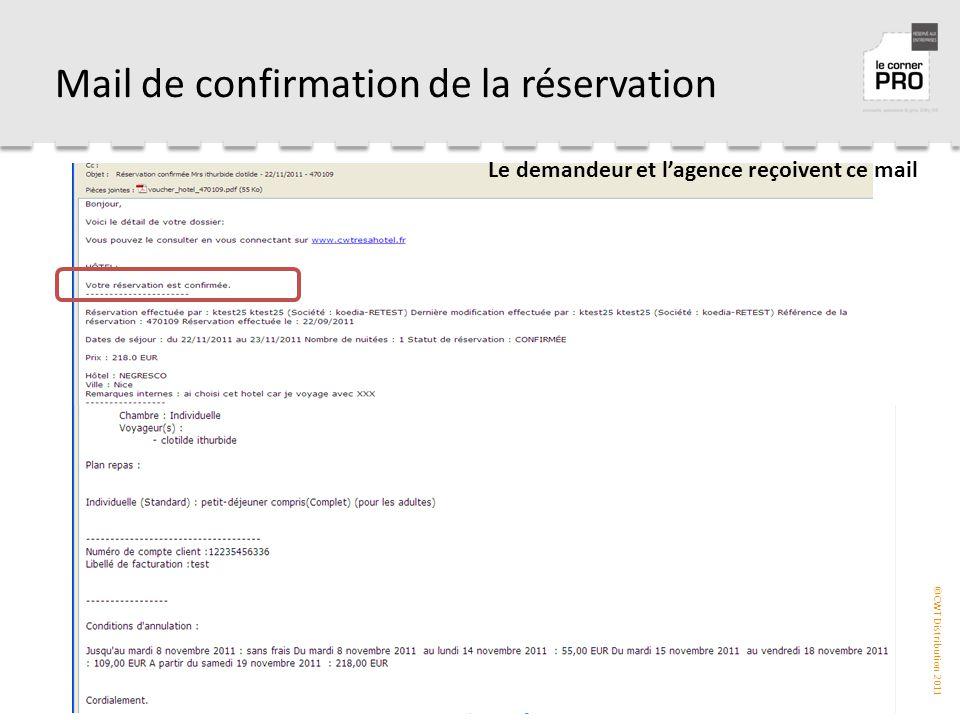 Mail de confirmation de la réservation