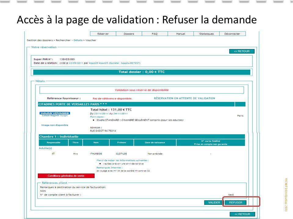 Accès à la page de validation : Refuser la demande