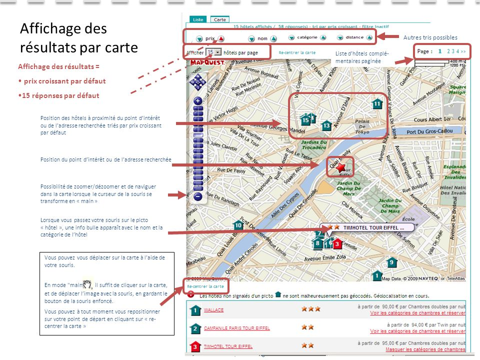 Affichage des résultats par carte
