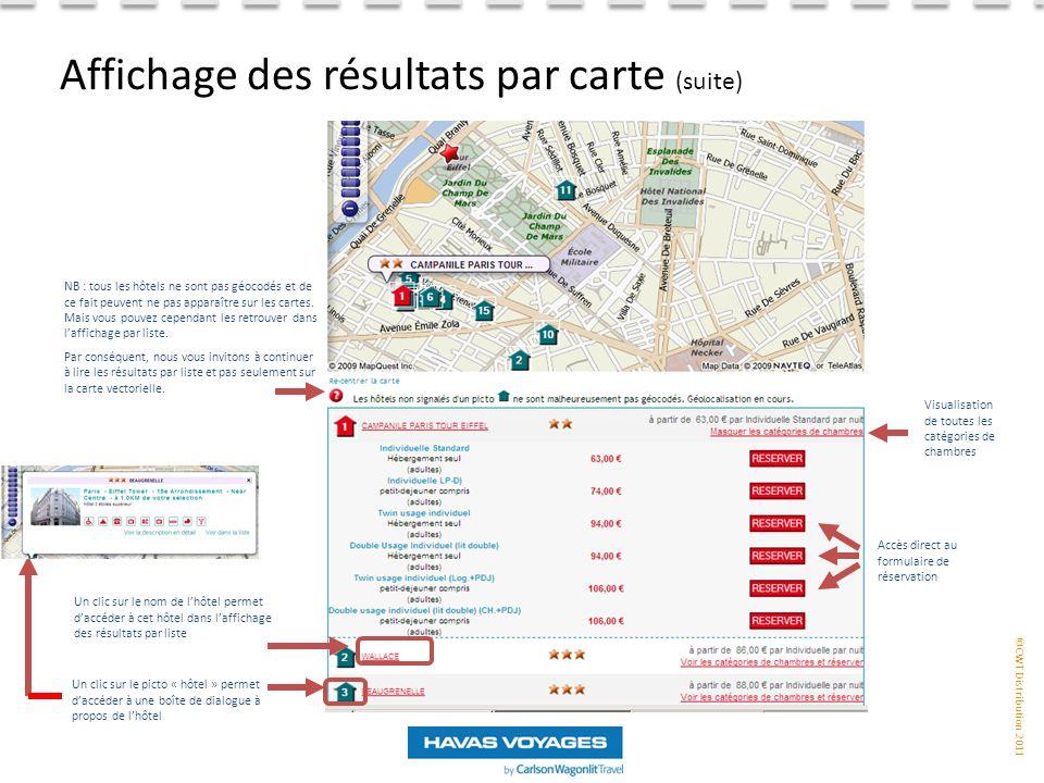 Affichage des résultats par carte (suite)