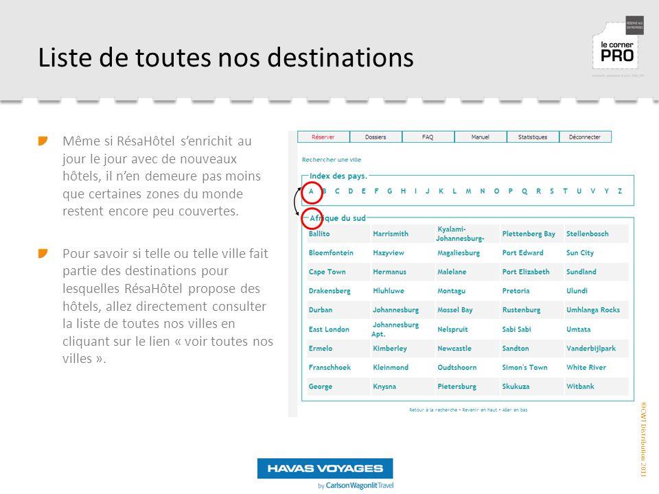 Liste de toutes nos destinations