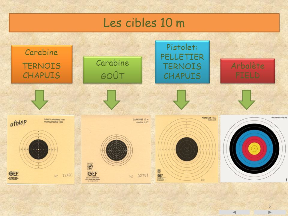 Les cibles 10 m Pistolet: PELLETIER TERNOIS CHAPUIS Carabine TERNOIS
