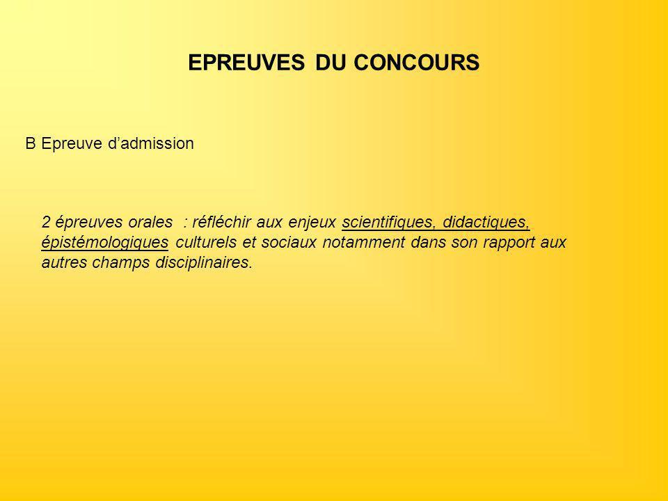 EPREUVES DU CONCOURS B Epreuve d'admission