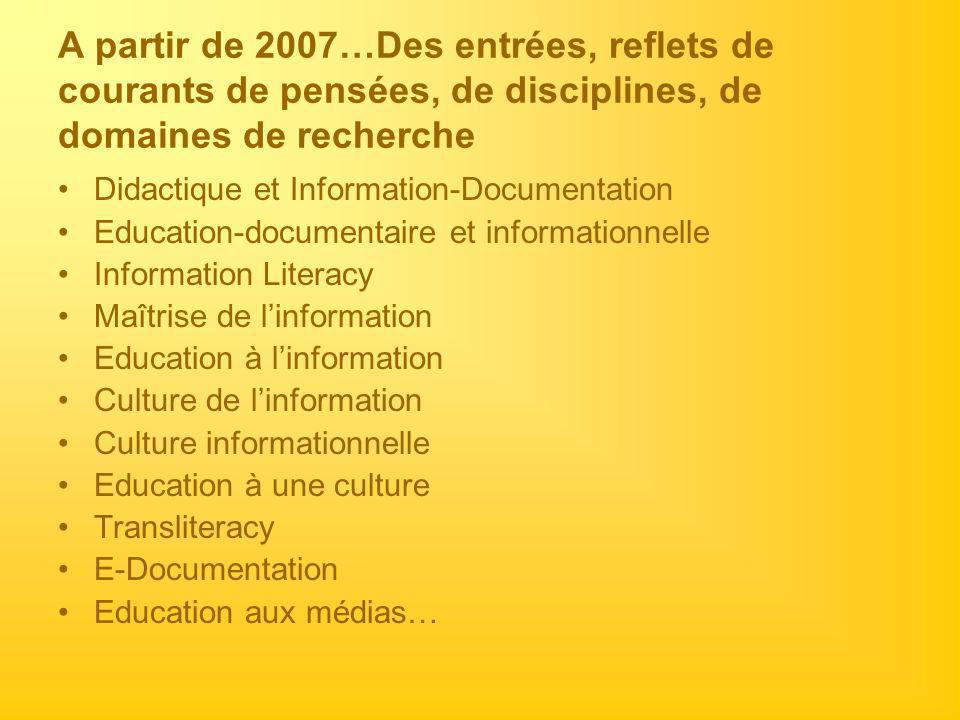 A partir de 2007…Des entrées, reflets de courants de pensées, de disciplines, de domaines de recherche