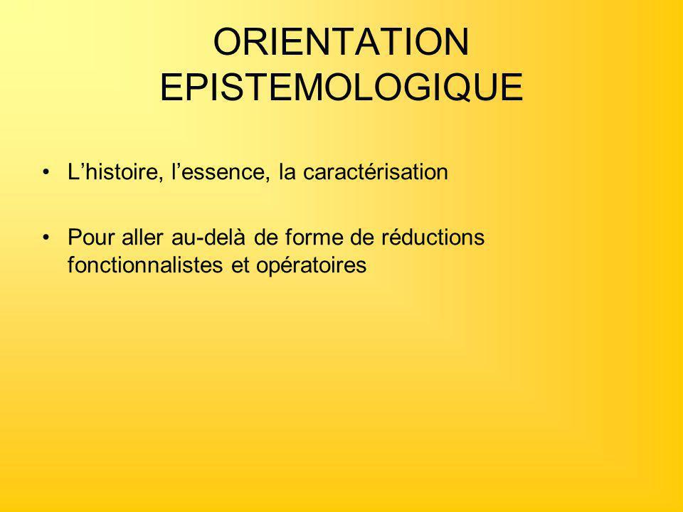 ORIENTATION EPISTEMOLOGIQUE