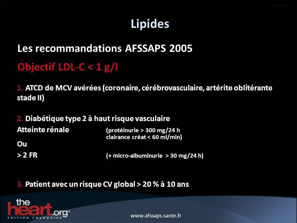 Lipides Les recommandations AFSSAPS 2005 Objectif LDL-C < 1 g/l