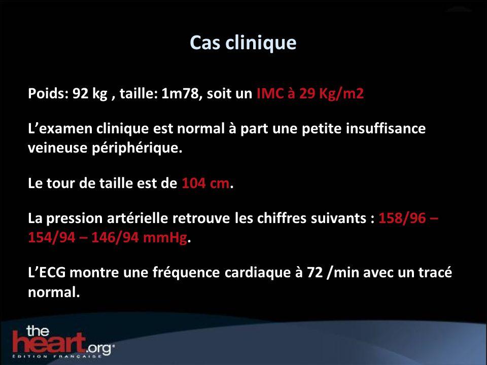 Cas clinique Poids: 92 kg , taille: 1m78, soit un IMC à 29 Kg/m2