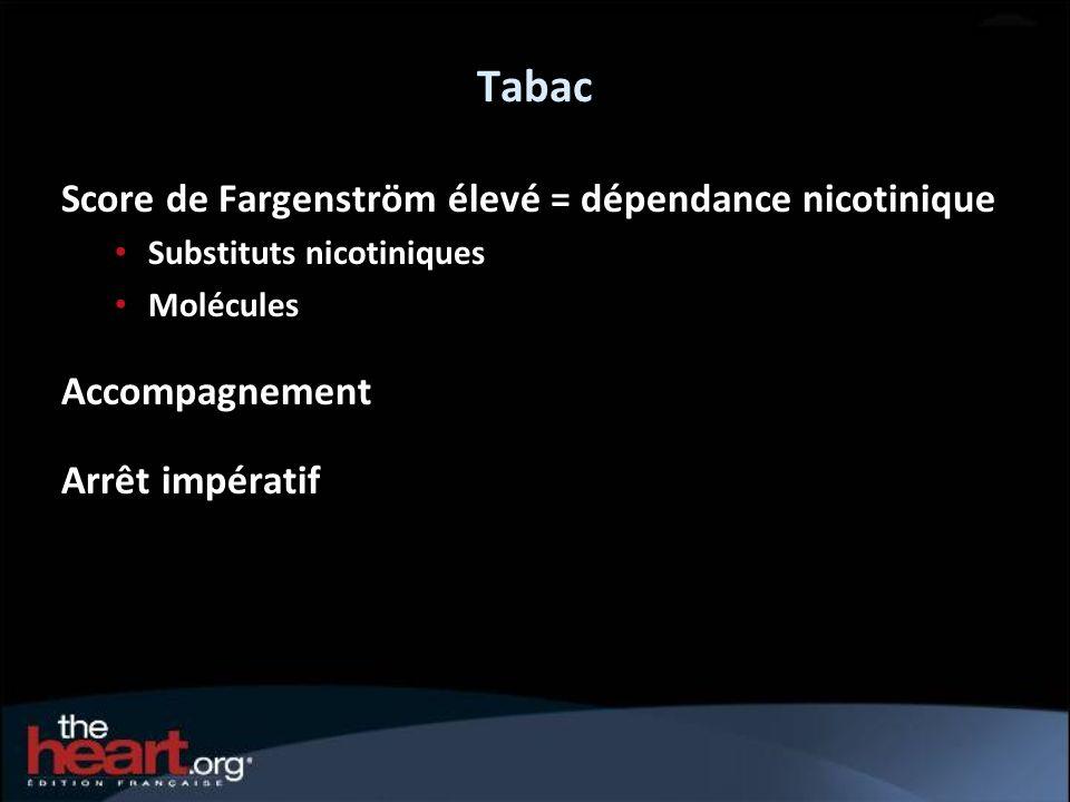 Tabac Score de Fargenström élevé = dépendance nicotinique