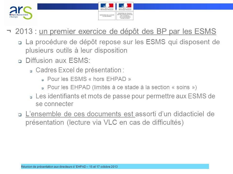 2013 : un premier exercice de dépôt des BP par les ESMS