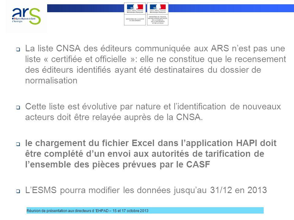 L'ESMS pourra modifier les données jusqu'au 31/12 en 2013