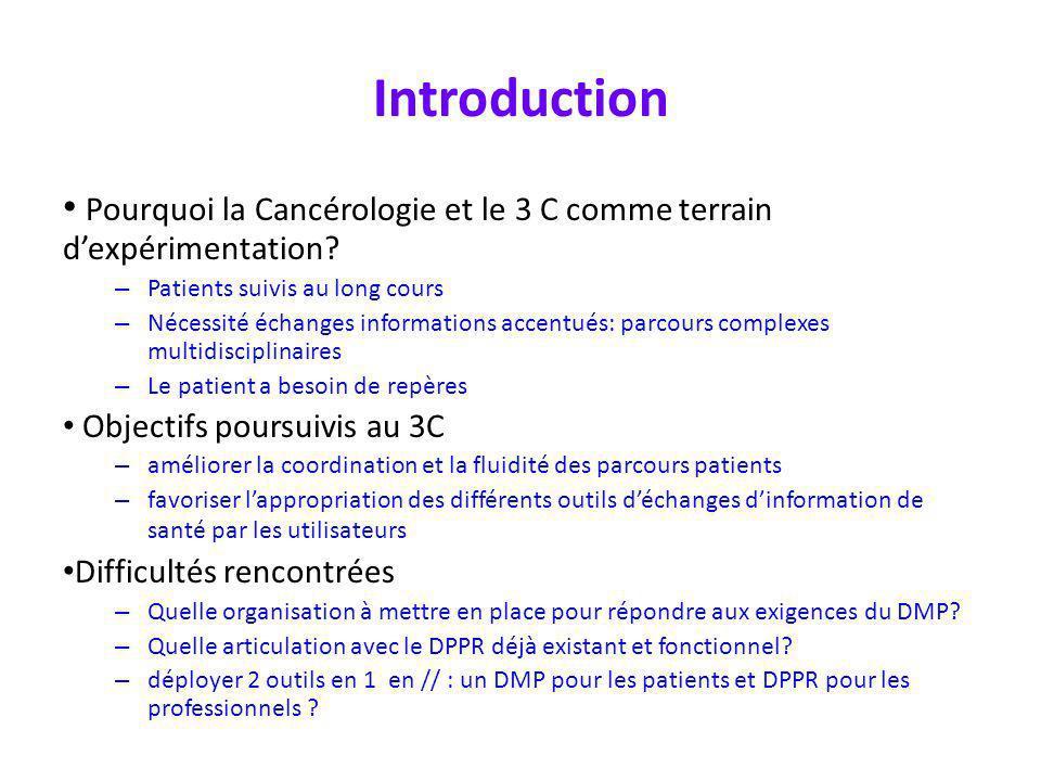 Introduction Pourquoi la Cancérologie et le 3 C comme terrain d'expérimentation Patients suivis au long cours.