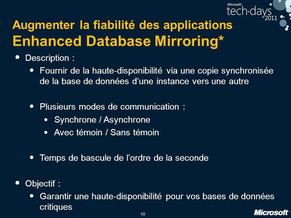 Augmenter la fiabilité des applications Enhanced Database Mirroring*
