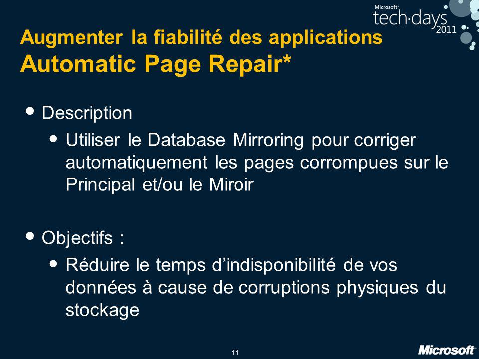 Augmenter la fiabilité des applications Automatic Page Repair*