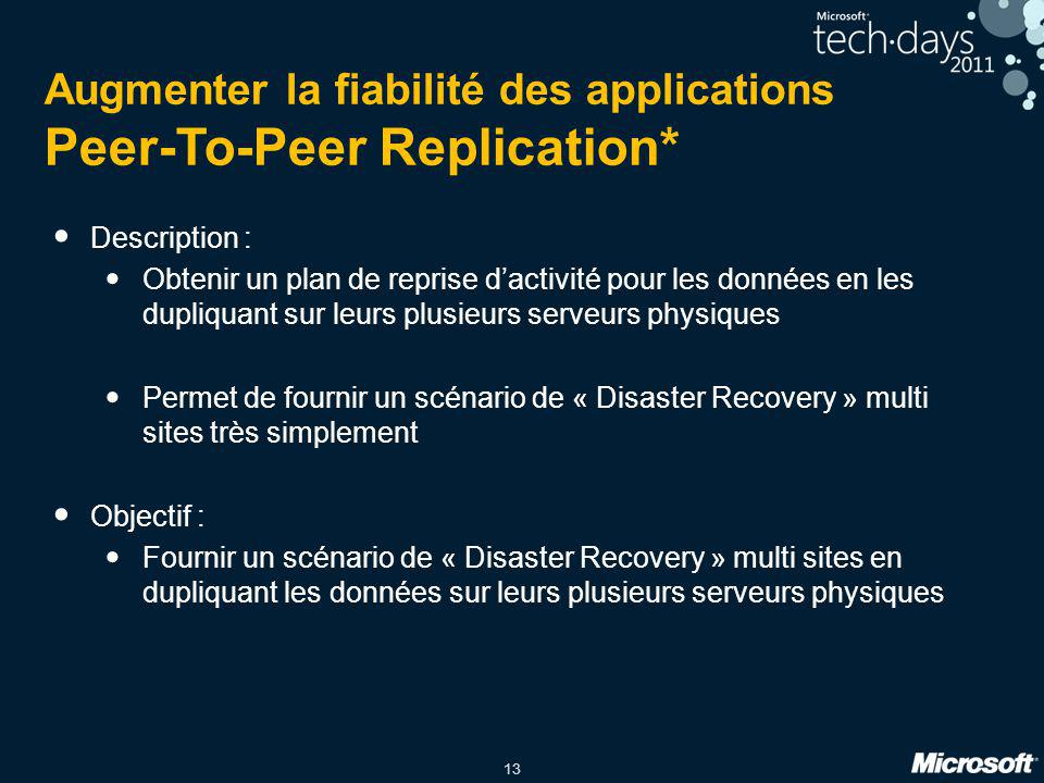 Augmenter la fiabilité des applications Peer-To-Peer Replication*