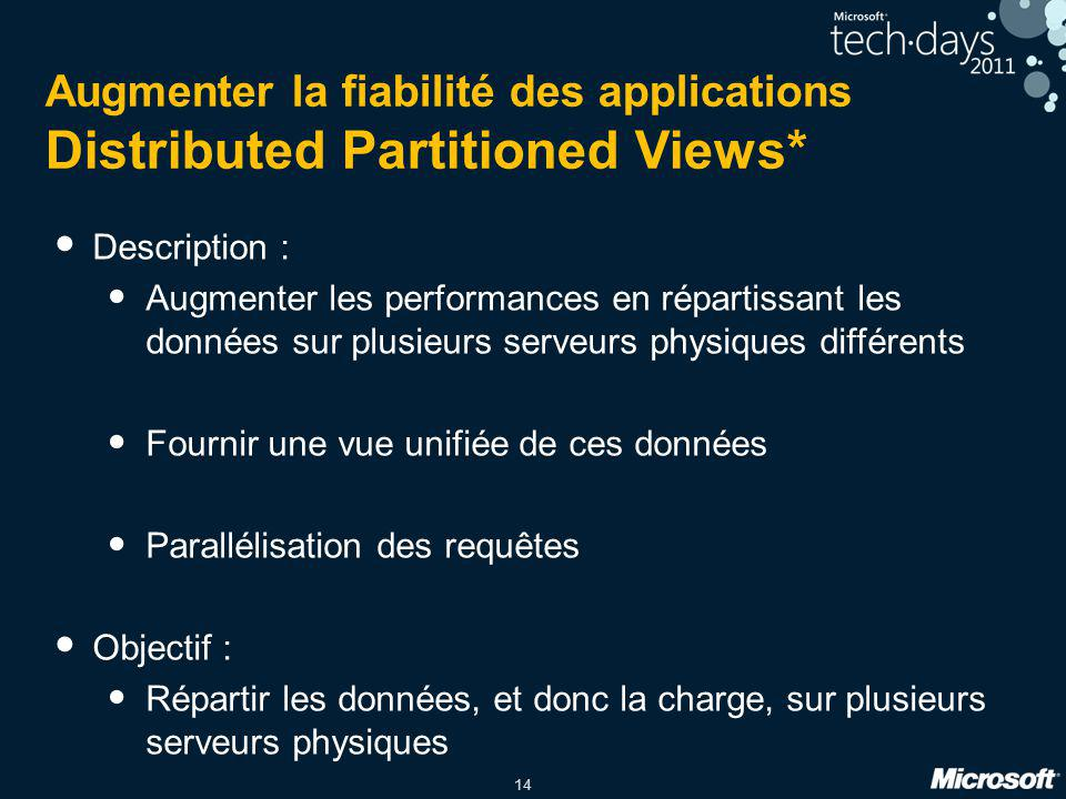 Augmenter la fiabilité des applications Distributed Partitioned Views*
