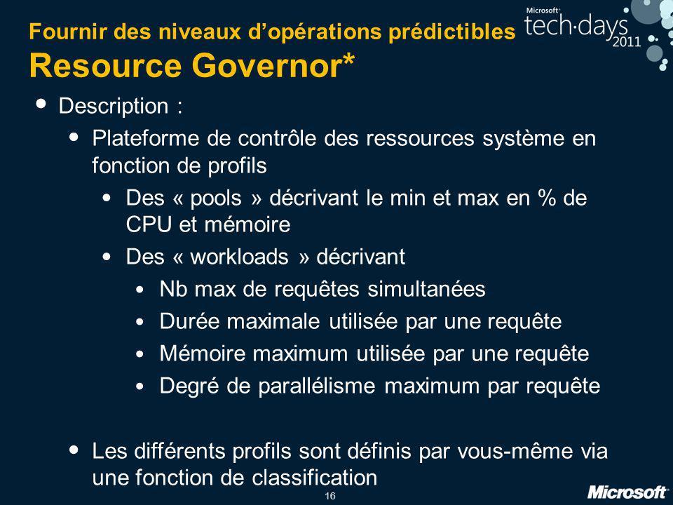 Fournir des niveaux d'opérations prédictibles Resource Governor*