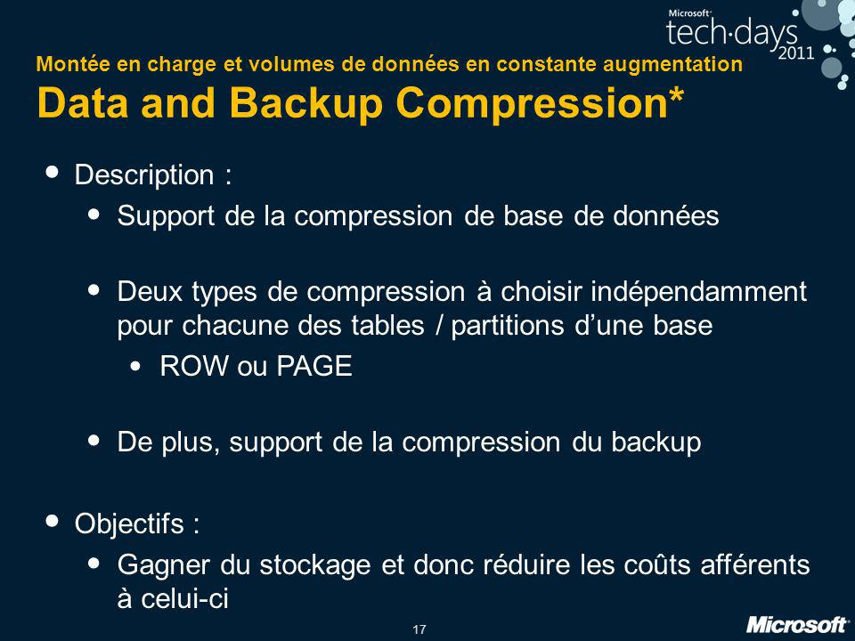 Support de la compression de base de données