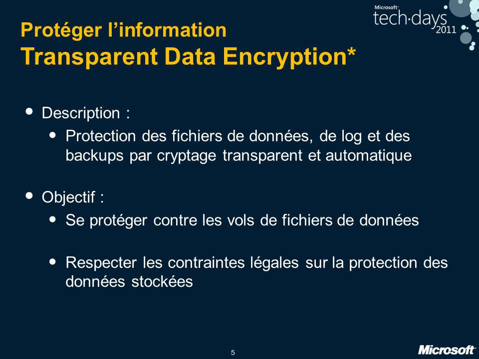 Protéger l'information Transparent Data Encryption*