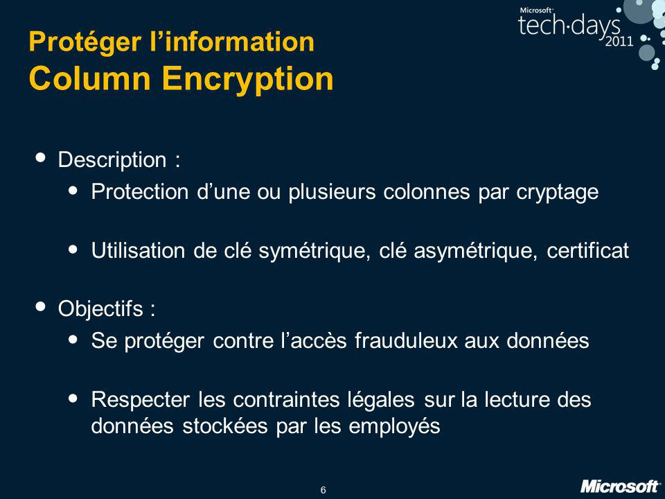Protéger l'information Column Encryption
