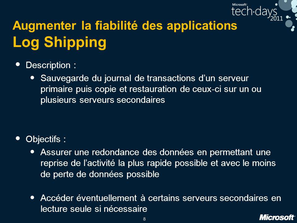 Augmenter la fiabilité des applications Log Shipping