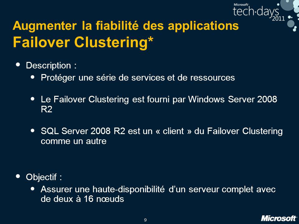 Augmenter la fiabilité des applications Failover Clustering*