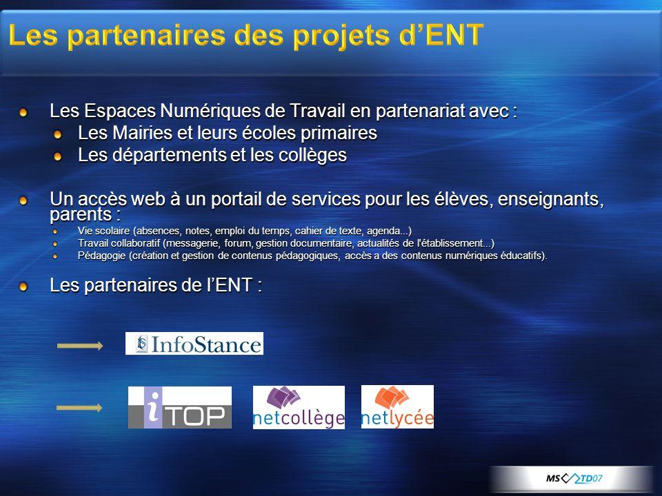 Les partenaires des projets d'ENT
