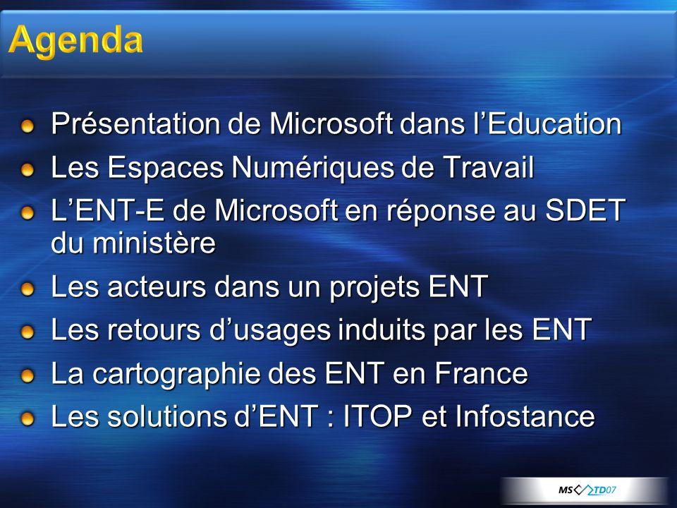 Agenda Présentation de Microsoft dans l'Education