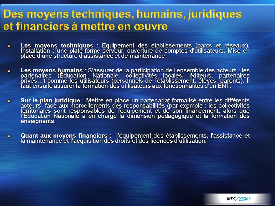 Des moyens techniques, humains, juridiques et financiers à mettre en œuvre