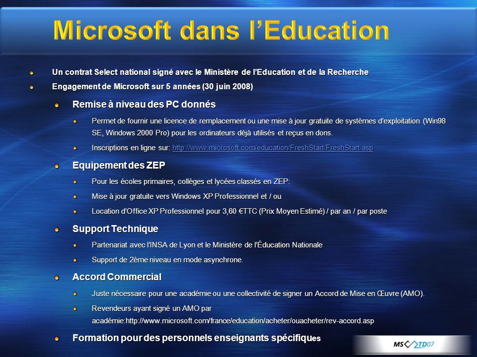 Microsoft dans l'Education
