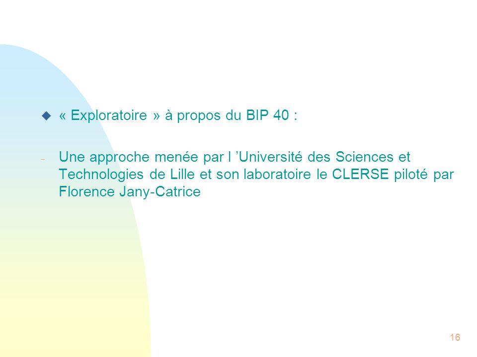 « Exploratoire » à propos du BIP 40 :
