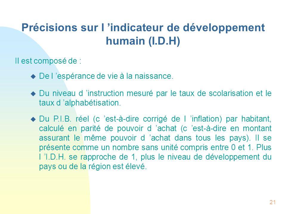 Précisions sur l 'indicateur de développement humain (I.D.H)