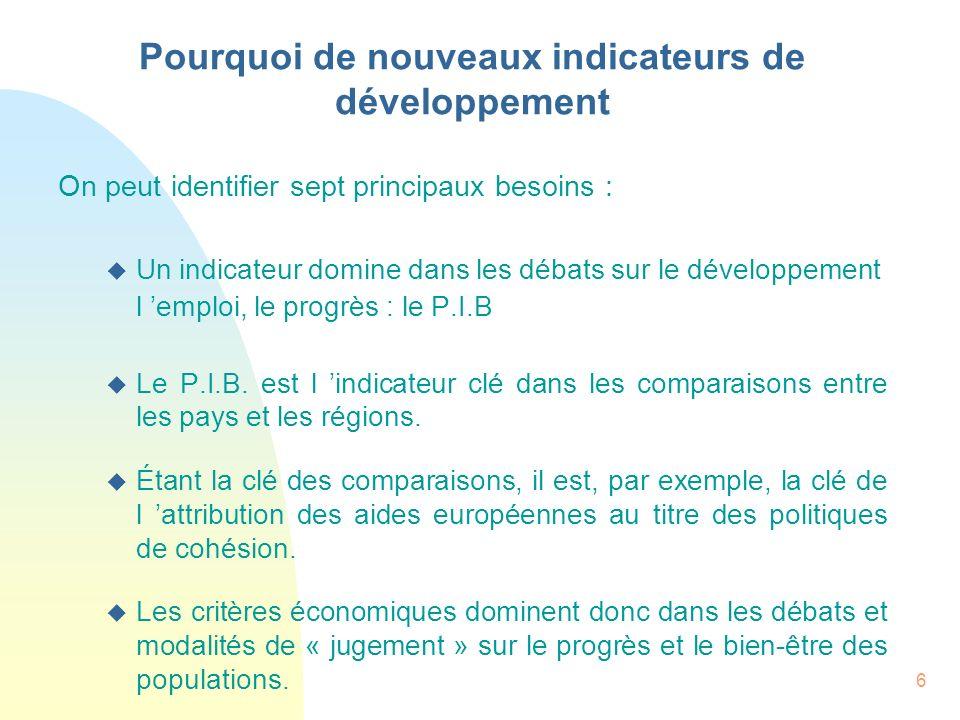Pourquoi de nouveaux indicateurs de développement