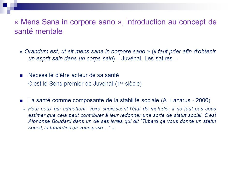« Mens Sana in corpore sano », introduction au concept de santé mentale