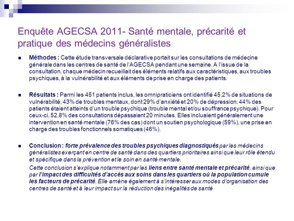 Enquête AGECSA 2011- Santé mentale, précarité et pratique des médecins généralistes