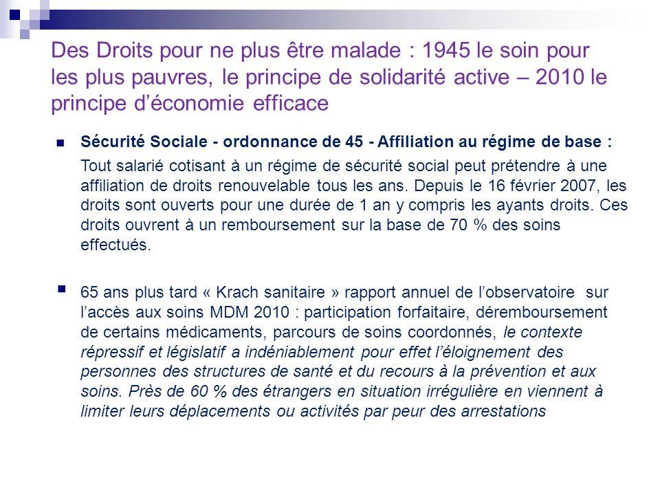 Des Droits pour ne plus être malade : 1945 le soin pour les plus pauvres, le principe de solidarité active – 2010 le principe d'économie efficace