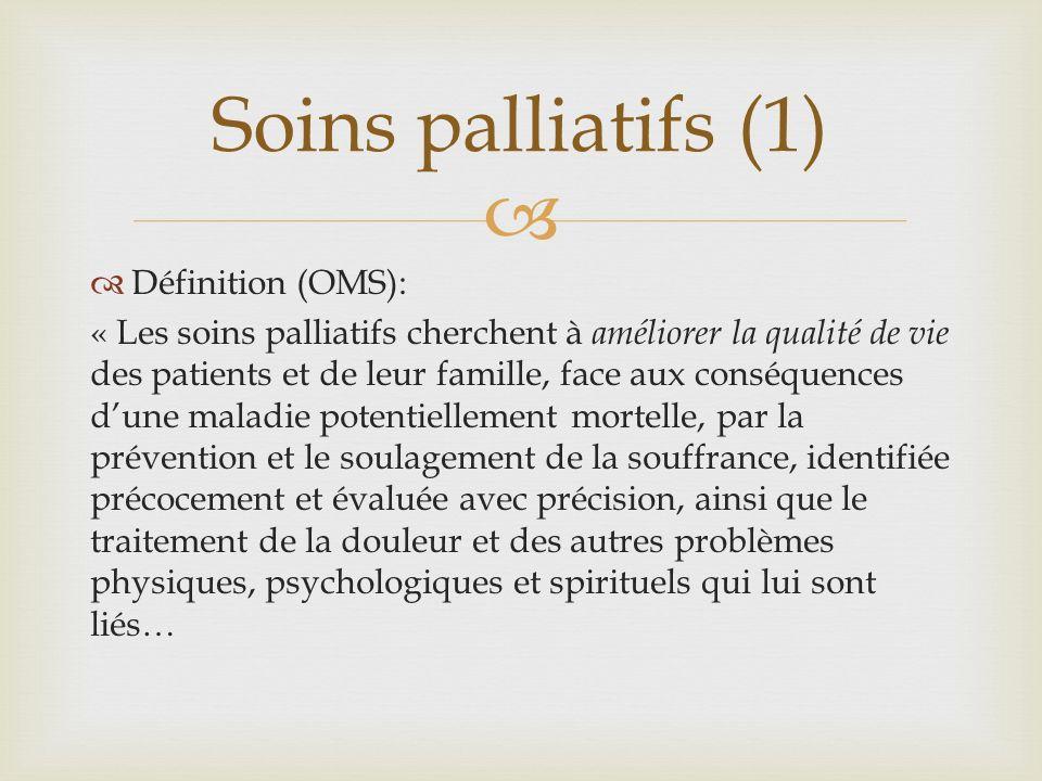 Soins palliatifs (1) Définition (OMS):
