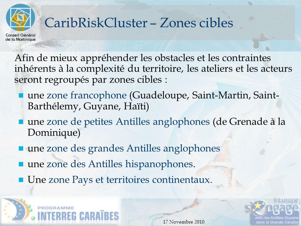 CaribRiskCluster – Zones cibles