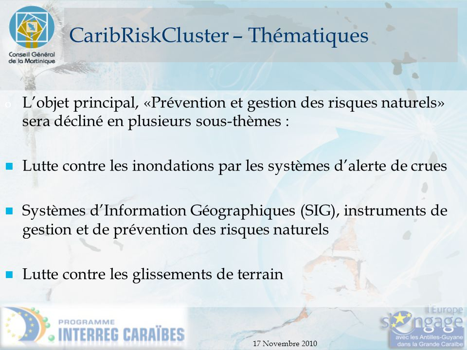 CaribRiskCluster – Thématiques