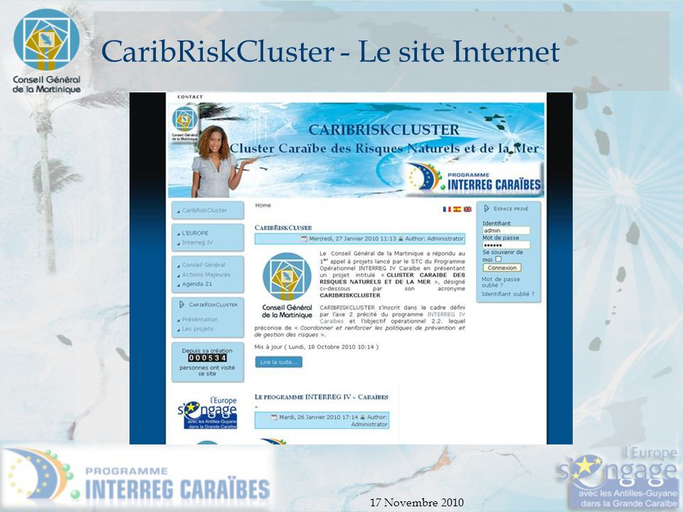 CaribRiskCluster - Le site Internet